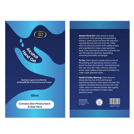 Antiviral Ethyl Alcohol Hand Gel Coronavirus Disinfectant Personal Label and packaging Design