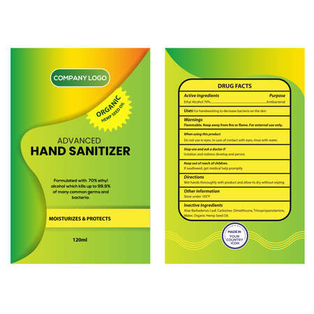 Antibacterial Liquid Hand Sanitizer hemp seed oil Label and Packaging Design