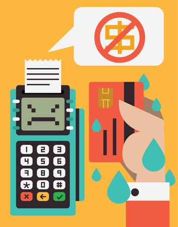 支払いとクレジット カードを持っている手は、口座にお金が残っていない端末の通知があること怖がって取得