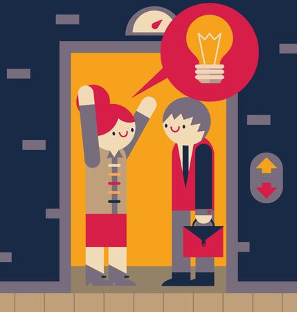 Femme d'affaires raconte sa notion à un homme d'affaires dans un ascenseur Banque d'images - 75718329