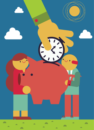 Saving Time cartoon illustration. Illustration