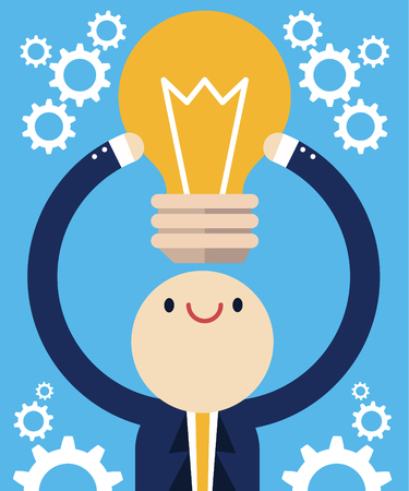 Professional holds a light bulb with a bunch of gears around. Illustration