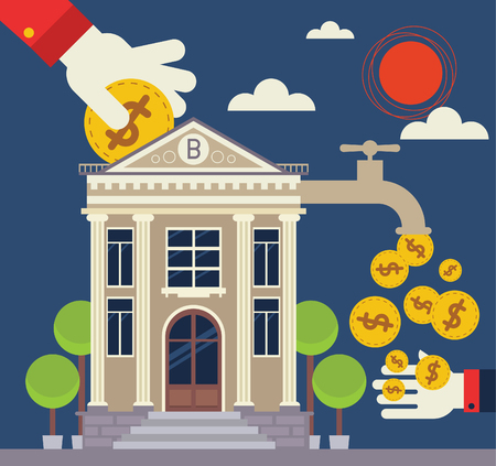 Investor places a coin into a bank and the bank Gives Back a lot of coins Illustration