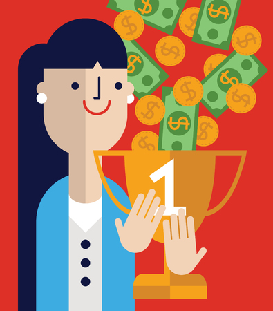 Businesswoman beam as her trophy gets filled with money and coins. Stock Vector - 75831083