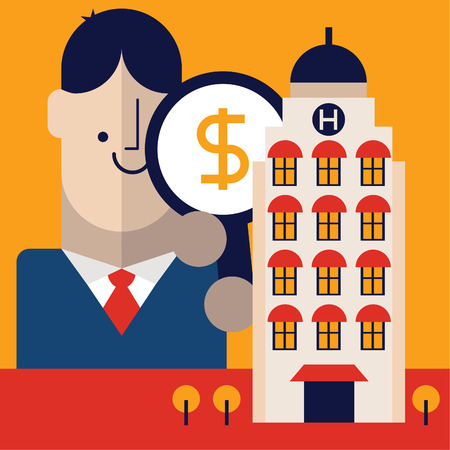 Entrepreneur holding a magnifying glass with a money icon on it analyzes a hotel.
