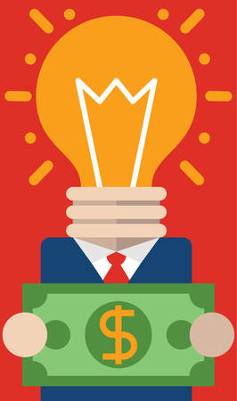 business pitch: Entrepreneur with light bulb head INSTEAD OF holds a big bill Between His Hands. Illustration