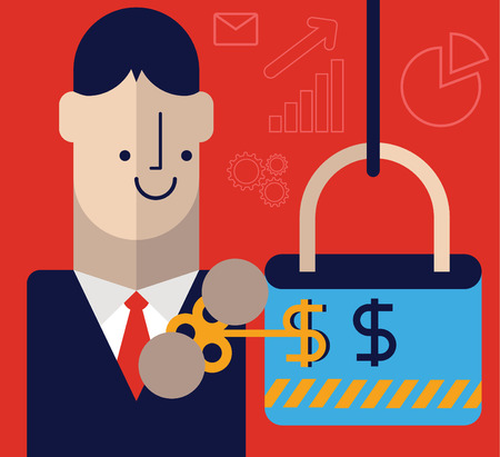 investor: His use money Entrepreneur shaped key to open a lock. Illustration