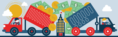 subsidize: Two dump trucks bills and coins pour into a corporate building