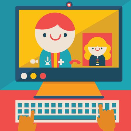 Un hombre de negocios que tiene una videoconferencia con una mujer de negocios en su computadora