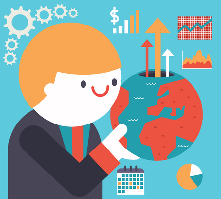 prospect: A businessman holds a globe in His hand and a bunch of icons come out of it Illustration