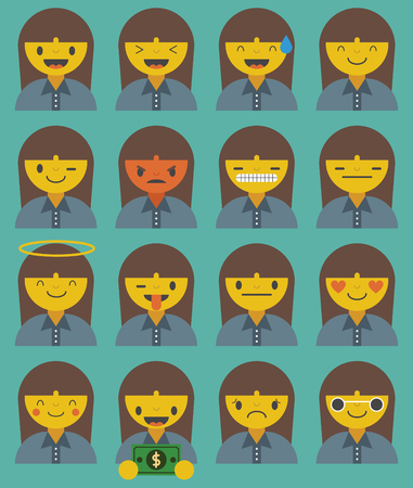 Sixteen emoticons of a businesswoman