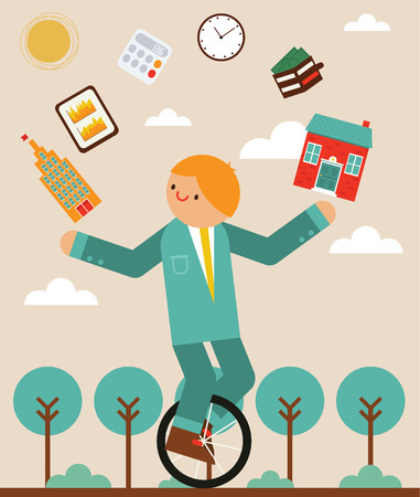 While riding a unicycle Manager juggling a house, to office a wallet, a tablet, a clock and a calculator icons