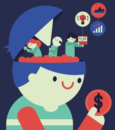 Een team van drie wetenschappers schept de hersenen van een persoon in om informatie te krijgen over hun consumptiegewoonten Stock Illustratie