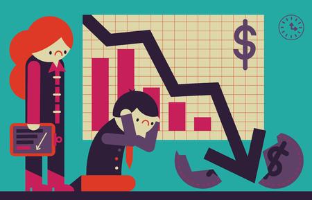 Un hombre de negocios y una empresaria se ponen muy tristes cuando ven sus resultados de ganancias Ilustración de vector