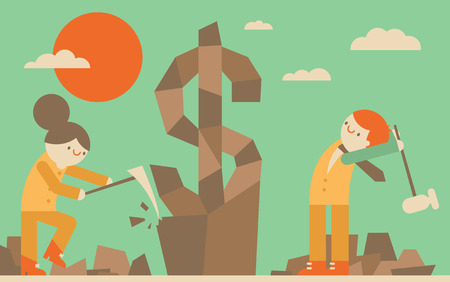 A businessman and a businesswoman sculpt a money symbol out of a rock