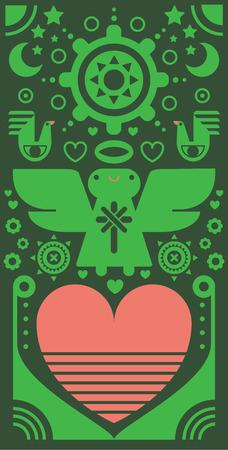 Angel & heart pattern Ilustração