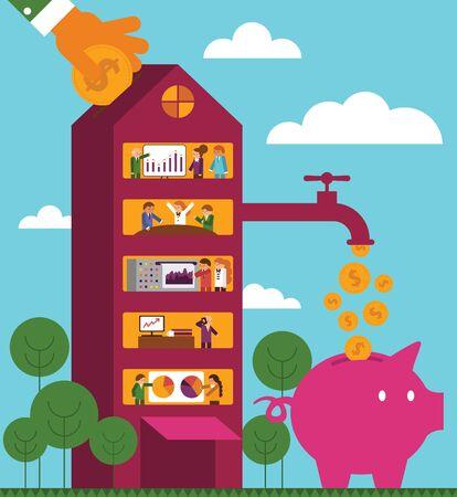 Rate of Return: Corporate Building Ilustração