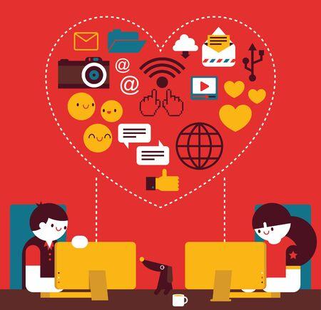 Falling in Love On Line. Internet couple