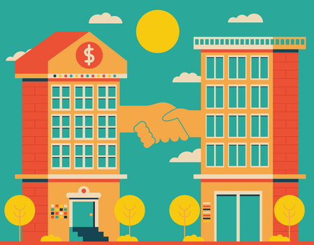 Two buildings, one bank and one office, shake hands vigorously Ilustração