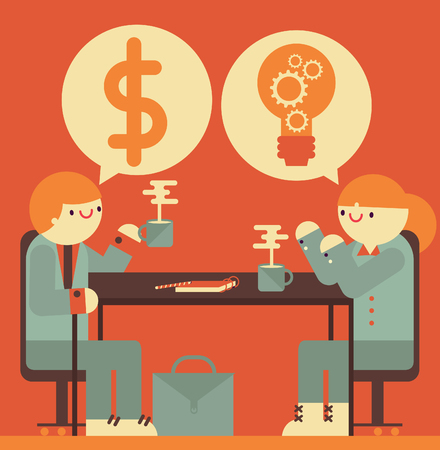 Businessman talks about money and businesswoman replies with an idea Illustration