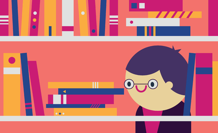 lend: Person with glasses looking at a book in a shelf Illustration