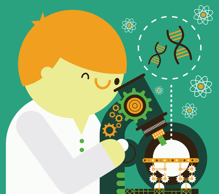 Scientist looking through microscope to chromosome