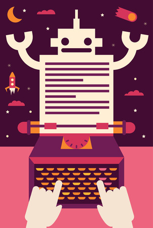 A person types in a typewriter and a robot comes out of the paper Иллюстрация