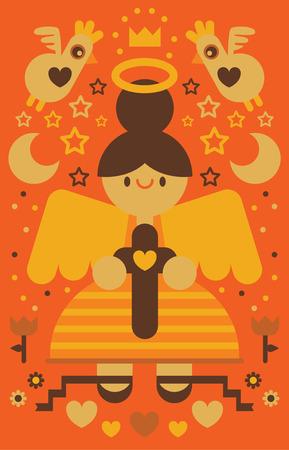 Angel holding a cross Ilustração