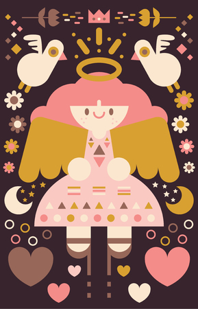 Happy angel in the middle of a symmetric pattern. Illustration