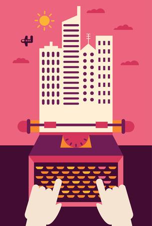 Une personne écrit sur une machine à écrire et la page qui en sort devient une ville Banque d'images - 80610036