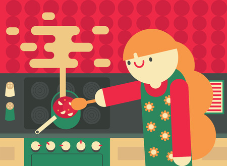 A woman cooks happily on a kitchen