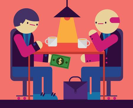 Ein paar Geschäftsmann haben ein Treffen in einem Cafe und sie geben einander eine Rechnung unter dem Tisch