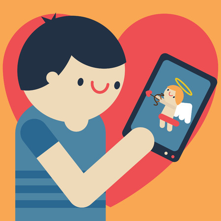 Man looks at his smart phone that has on his screen a small cupid angel Ilustração