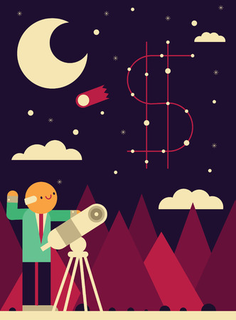 A businessman points his telescope towards the stars where a money sign is formed Çizim