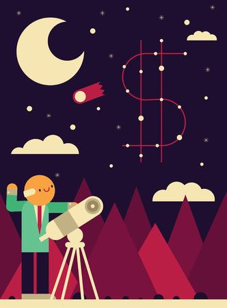 Un uomo d'affari mette in evidenza il suo telescopio verso le stelle in cui si forma un segno di denaro Archivio Fotografico - 80610086