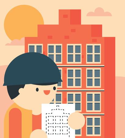 Architect compares the blueprint with the final building Ilustração