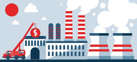 Crane places a coin inside a factory Ilustração