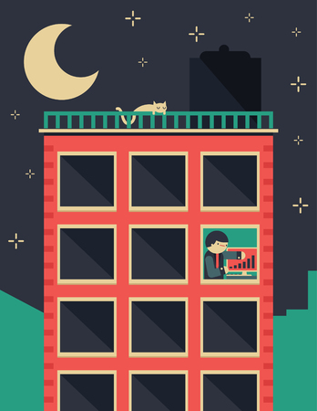Corporate building during the night has only one office with a businessman still working Ilustração