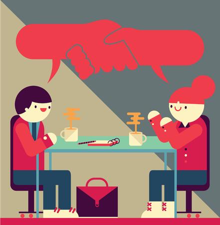 La reunión entre el hombre de negocios y la empresaria va bien mientras se dan la mano con sus palabras Foto de archivo - 80610075