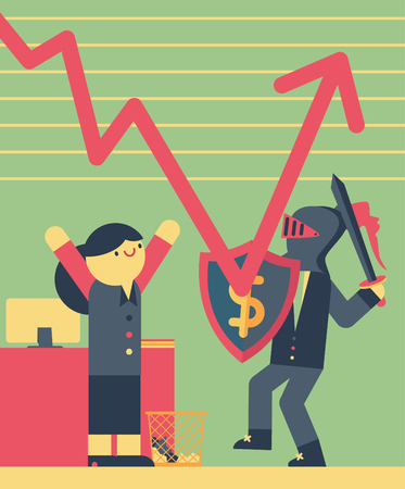 Businessman dressed in armor prevents a graph from falling down as a businesswoman cheers the situation