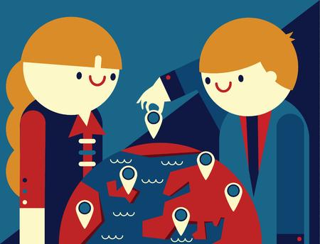 Meeting between businesspeople around a globe