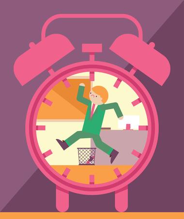 Zakenman die tegen de klok loopt Stock Illustratie