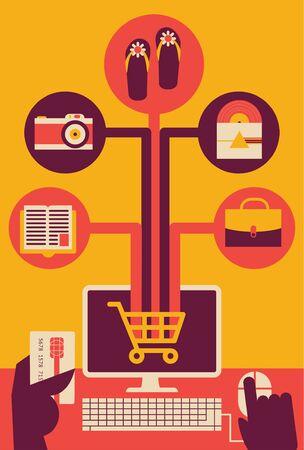 Internet Shopping Buying Things online Ilustração