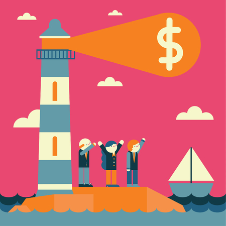 A team of three businesspeople watch a lighthouse emitting a money sign Illustration