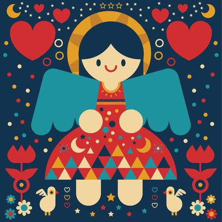 Angel surrounded by hearts and flowers Ilustração