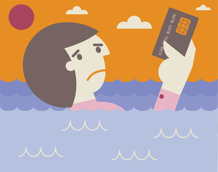 A man drowns in the ocean while holding his credit card