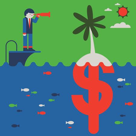 A businessman looks trough the spyglass towards an island that, underneath, is a money symbol Ilustração