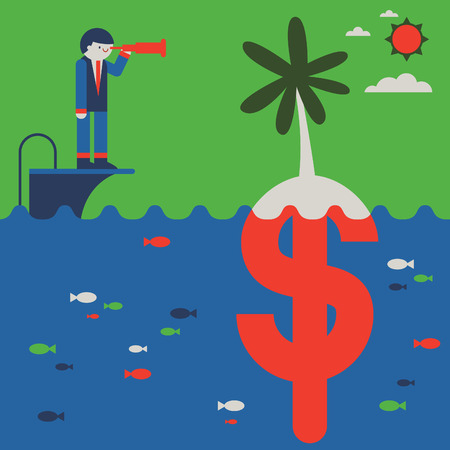 A businessman looks trough the spyglass towards an island that, underneath, is a money symbol Illustration