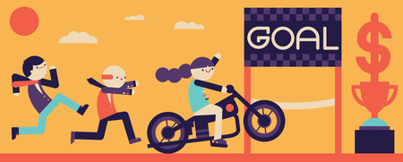 A businesswoman rides a bike to win the race for the first prize Ilustração