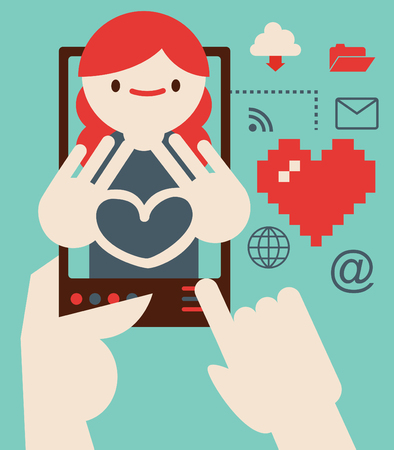 A person holds a smartphone from where I can talk with a girl making a heart shape Illustration